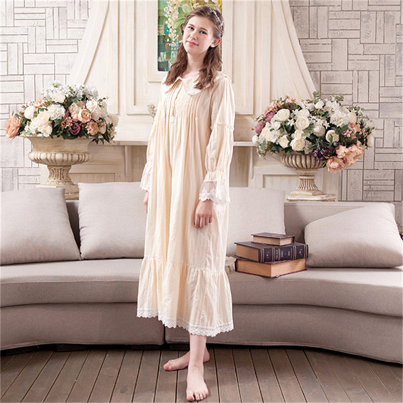 Vintage Sweet Princess Long Nightgowns Cotton Lace Women Long Sleeved Sleepwear Casual Elegant Sleeping Dresses BL1702 in Nightgowns Sleepshirts from Underwear Sleepwears