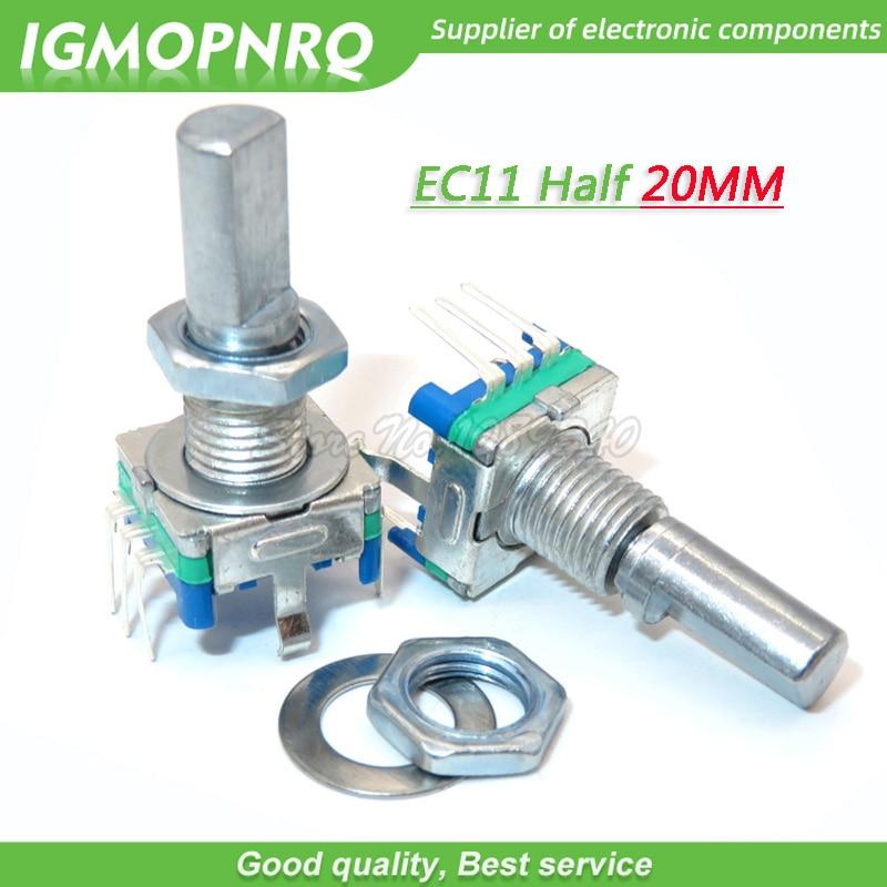 5 pièces EC11 20mm demi poignée codeur rotatif commutateur de codage potentiomètre numérique commutateur 5 broches bricolage IGMOPNRQ