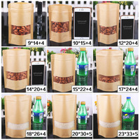 Zip lock Kraft Paper Frosted Window Bag Stand up Gift Dried Food Fruit Tea packaging Pouches Zipper Self Sealing Bags