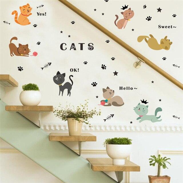 Cartoon Schöne Katzen Pfote Spielen Wandaufkleber Für Kinderzimmer