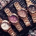 Guou HK Brand Luxury Women Watches Ladies Dress Clock Fashion Rose Gold Steel Calendar Watches Female Quartz Wristwatches