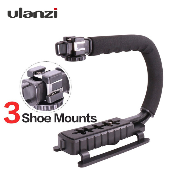 "Ulanzi U-Grip Triple Shoe Mount Video Stabilizer Handle Video Grip 1/4""-20 for Nikon Canon Camera filmmaking,for iPhone 7 plus"