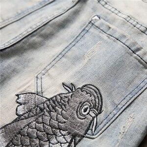 Image 4 - Мужские джинсы с вышитым карпом Sokotoo винтажные зауженные брюки с заплатками стрейчевые джинсовые штаны