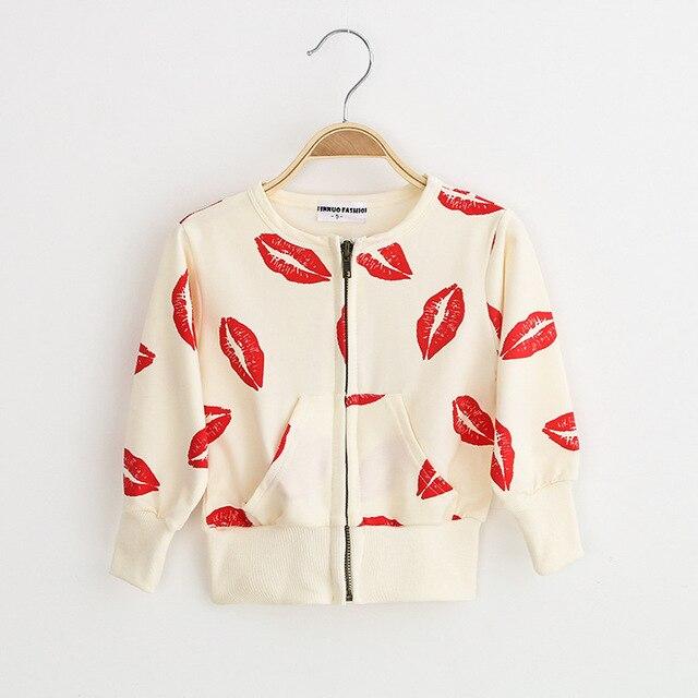 Детская одежда для девочек для хлопка молнию куртки красные губы кардиган с длинным рукавом куртки пальто для девочек куртки девушки верхняя одежда пальто