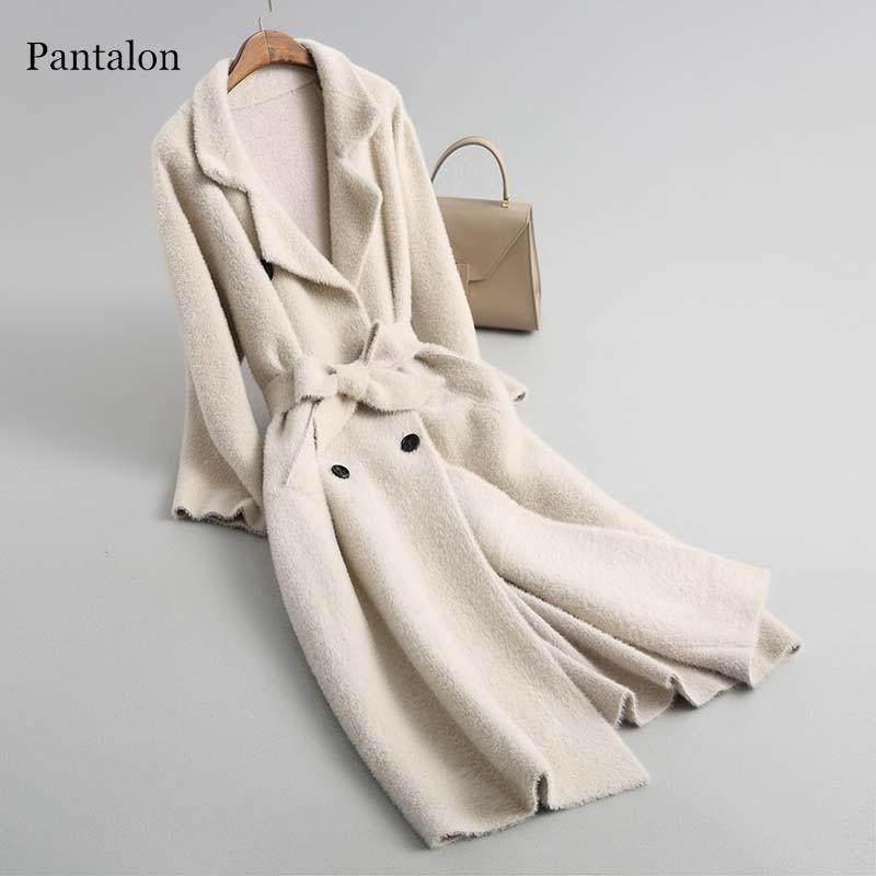 Pantalon пояса свитер Для женщин Кардиган с длинным рукавом Винтаж верблюд зима женский кардиган отложным воротником casaco feminino
