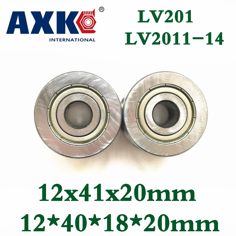 Axk V Groove Guide Roller Bearings Lv201 Zz Rv201/12-20 12*41*20mm Lv201-14 Zz 12*40*18*20mm Precision Double Row Balls Abec-5 мебель трия шкаф платяной аватар см 201 14 001 каттхилт лаванда cm 201 14 001 lavanda cm 201 14 001 lavanda