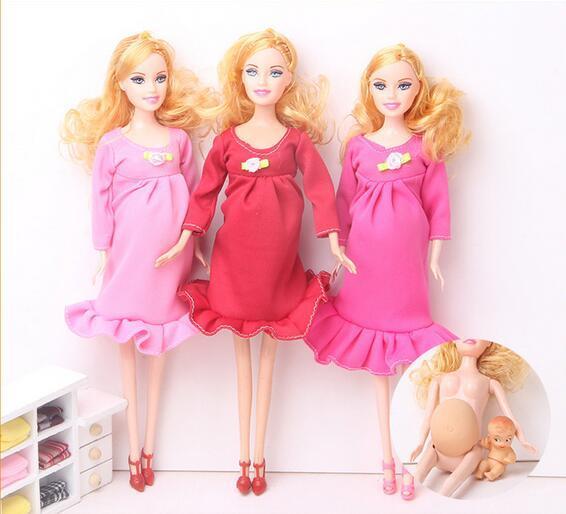 2017 новые Образовательные Реального беременная кукла костюмы мама куклы имеют baby in her tummy for barbie Девочек Toys Лучший Подарок девушки