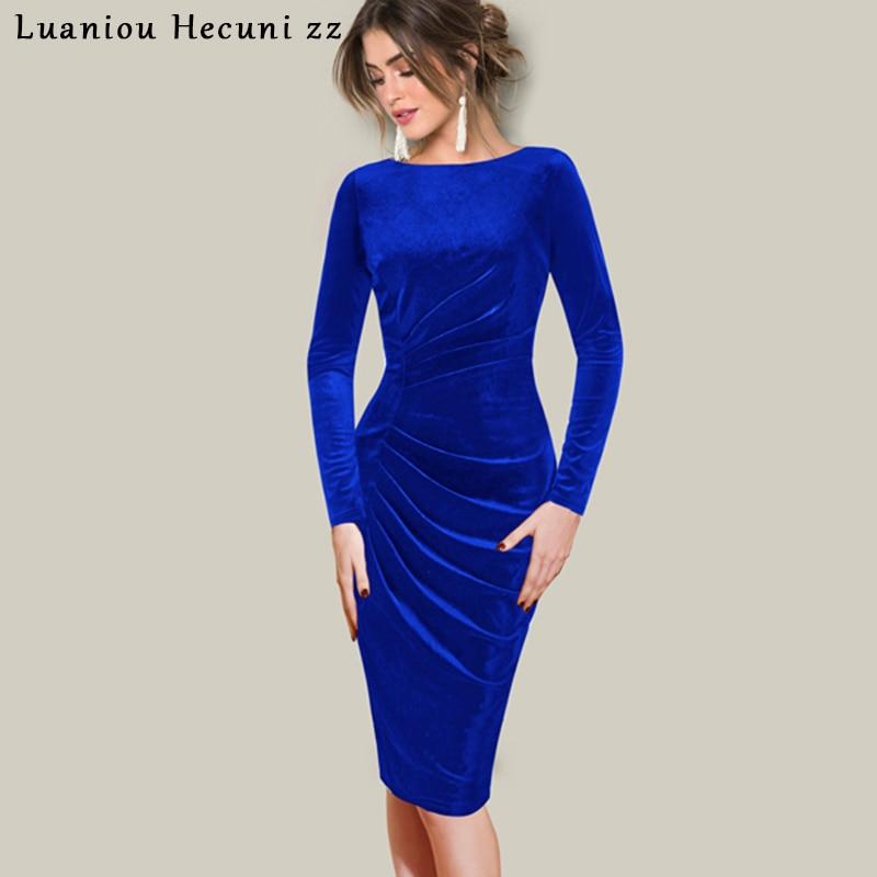 8da4ee79e44 Chu Ni Velvet Dress Women Spring Autumn Elegant Work Office Bodycon Pencil  Dress Vintage Black Dresses Vestidos Plus Size L067