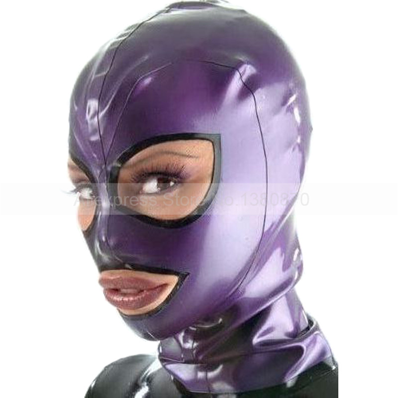 Metal Purple Latex Hood Rubber Mask Open Eyes Nostrils Mouth Back Zip S LM119