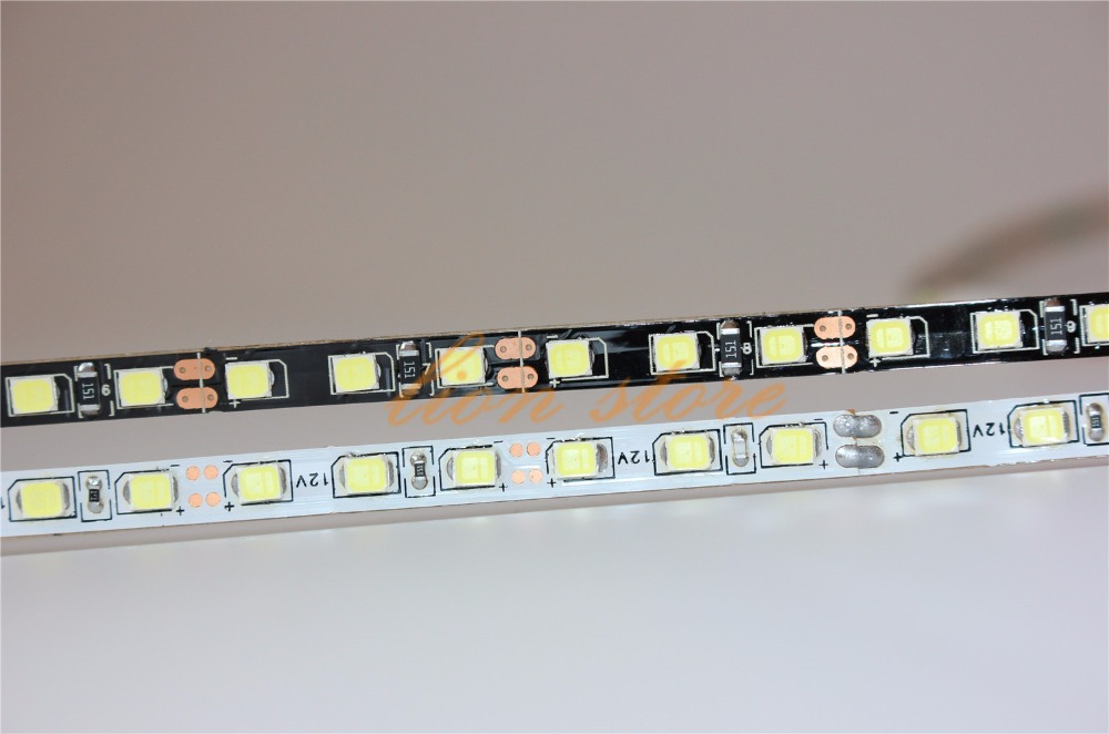 WHITE /BLACK PCB  5mm Width 2835 SMD Flexible Led Strip Light  120led/m DC12V White Non-Waterproof 5m Ribbon Tape Light