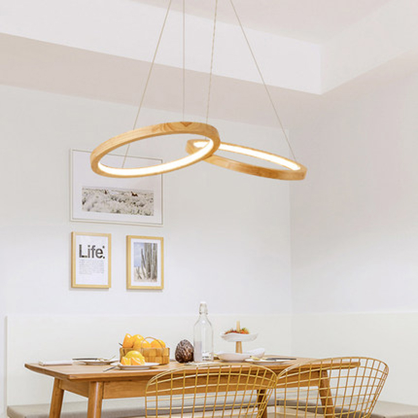 Nordic Wooden LED Pendant Lights Modern Dining Room Two Wooden Round Pendant Lamps Kitchen Fixtures Lighting Luminaire HangLamp