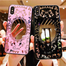 Beautiful Girl Makeup Mirror Phone Case For Huawei p20 lite mate 20 pro p10 plus mate10 Leopard Print Glossy Plating Soft Cover
