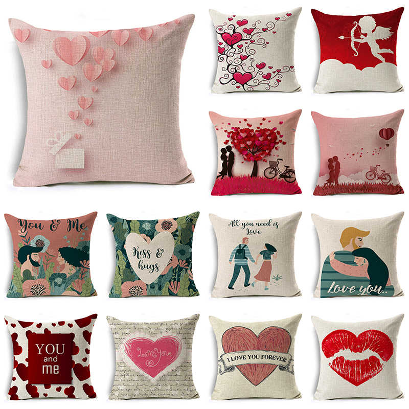 WZH Pink love Style Cushion Cover 45x45cm Linen Decorative Pillow Cover Sofa Bed Pillow Case