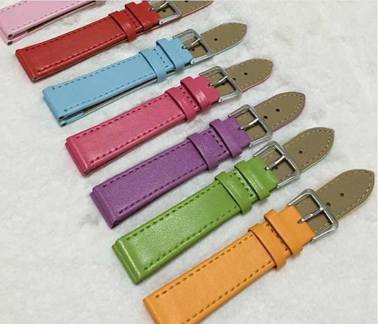 Correa de cuero PU de tejido liso correa de reloj 12 MM, 14 MM, 16 MM, 18 MM, 20MM correas de reloj de colores caramelo para relojes