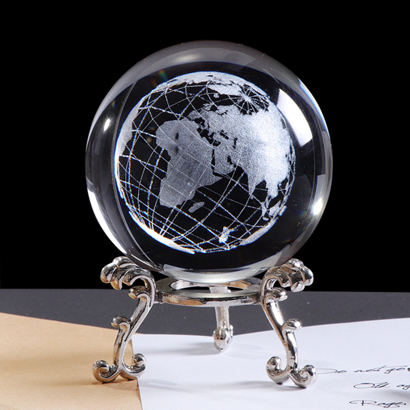 60mm 3D Crystal Earth Ball Miniature Model Globe Laser Engraved Crystal Craft Sphere Home Decoration Accessories