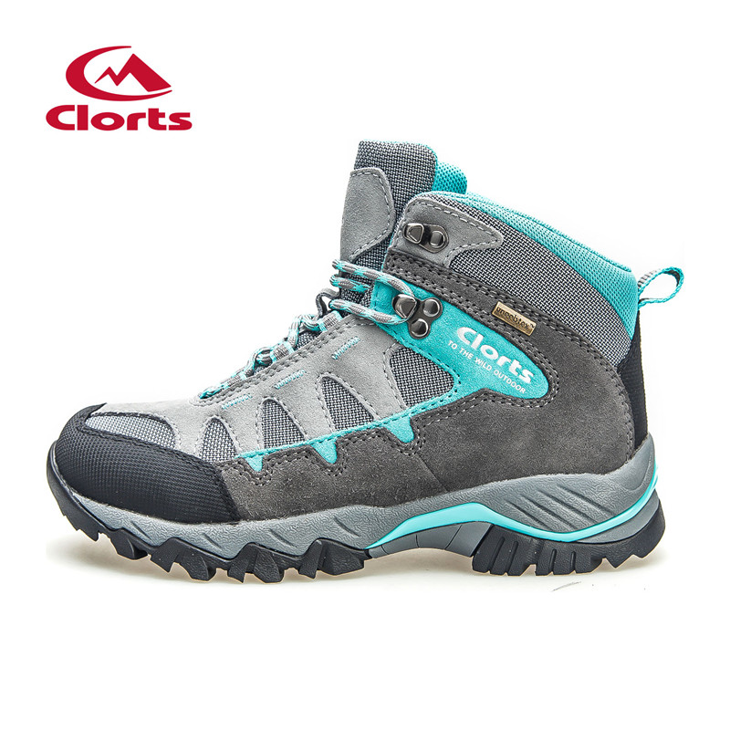 Clorts Hiking Shoes Trekking Camping Climbing Outdoor Shoes  Waterproof Suede Leather Women Outdoor Boots Winter Sneaker HK823F clorts women trekking shoes outdoor hiking lace up shoes waterproof suede hiking shoes female breathable climbing shoes hkl 828d