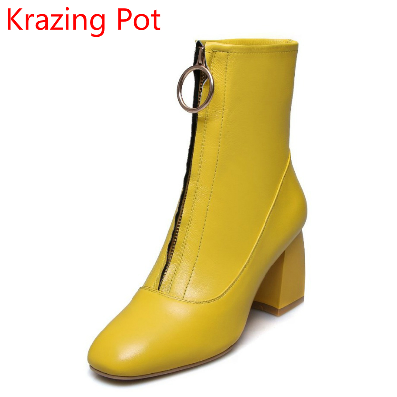 New Arrival Genuine Leather Genuine Leather Thick High Heels Square Toe Fashion Boots Women Superstar Party Mid-calf Boots L17 2018 new arrival fashion winter shoe genuine leather pointed toe high heel handmade party runway zipper women mid calf boots l11