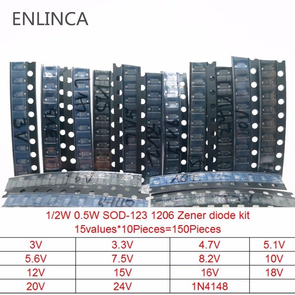 150 piezas 15 valores diodo Zener kit de césped-123 1206 SOD-323 0,5 W diodo Zener SMD paquete 15values * 10 Uds 3V 3,3 V 4,7 V 5,1 V 5,6 V 7,5 V Cree XML2 XM-L2 T6 10W emisor LED de alta potencia diodo blanco frío 16/20mm PCB + 17mm/22mm DC3.7V 12V controlador
