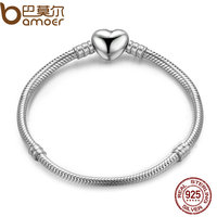 BAMOER Authentic 100 925 Sterling Silver Snake Chain Moments Heart Bracelet Bangle Luxury Silver Jewelry PAS917
