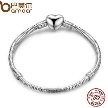 BAMOER Аутентичные 925 пробы 100% Серебряная Змея цепи моменты сердце браслет и роскошные серебряные ювелирные изделия PAS917