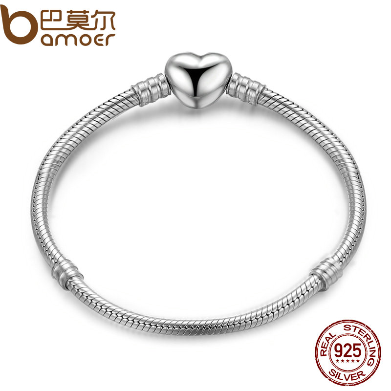 BAMOER Authentic 100% 925 Sterling Silver Snake Chain Moments Heart Bracelet & Bangle Luxury Silver Jewelry PAS917 authentic luxury