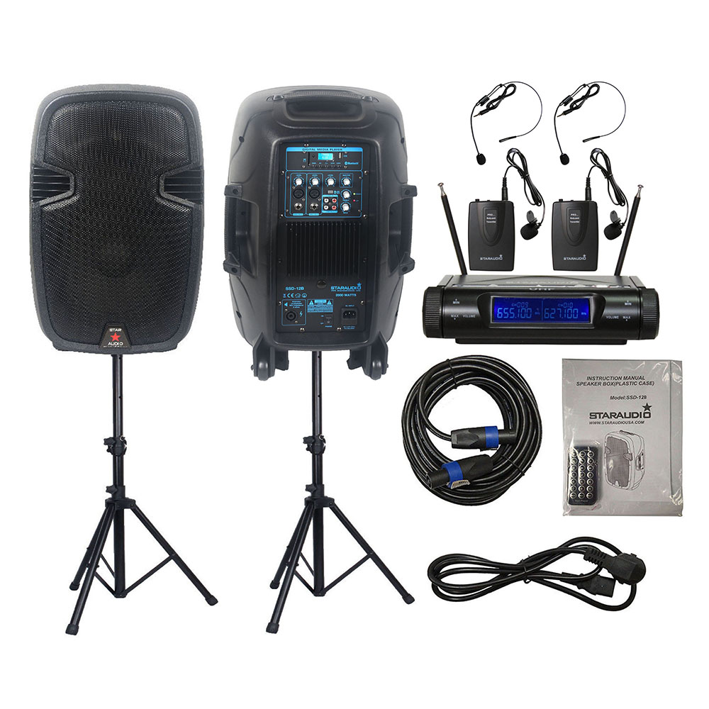 STARAUDIO 2 pièces 12 Pouces DJ 2000 W Alimenté Haut-parleurs Actif DJ haut-parleur Stands 2CH UHF Sans Fil Casque Bodypack Micro SSD-12B