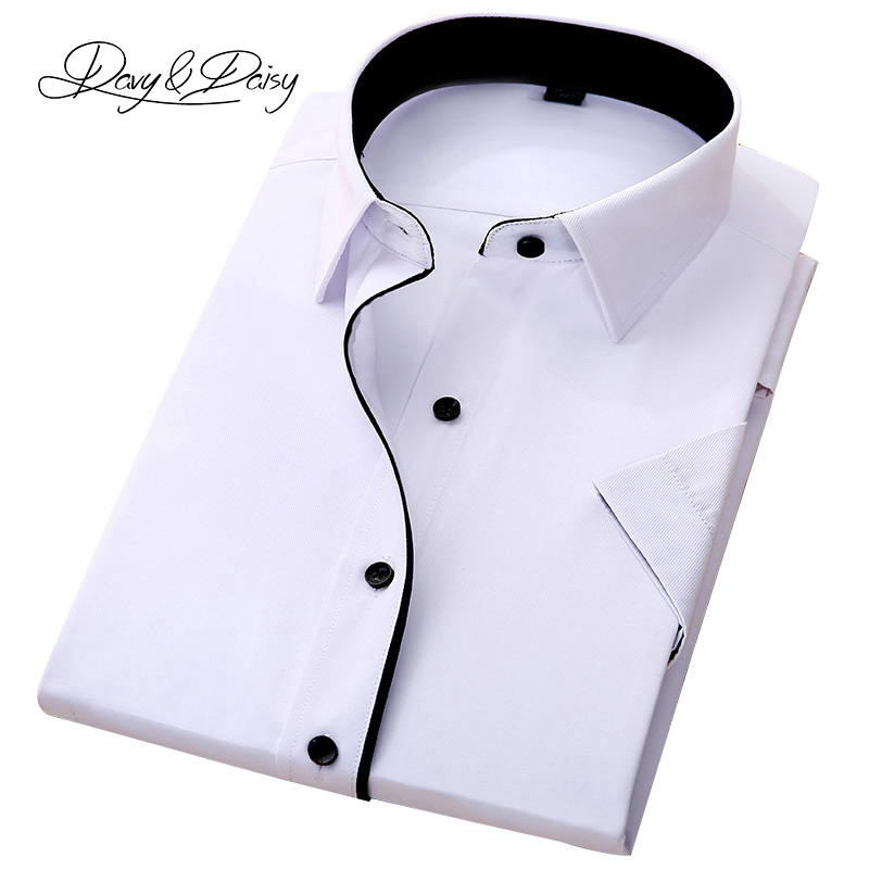 DAVYDAISY High Quality Social Shirt Men Business Slim Fit Short Sleeve Solid Twill Dress Shirts Men Summer Camisa DS-155