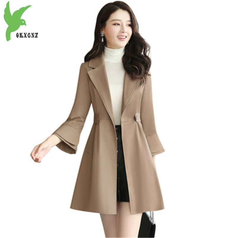 New fashion womens windbreaker Spring autumn Boutique coats Solid color Slim Outerwear Trumpet sleeves female Trench OKXGNZ1339