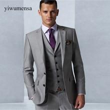 63175b4e83a898 Maatwerk Grijs mannen trouwjurk 2018 Smoking Bruidegom Formele Pak Heren 3  stuks (jas + vest + broek) bruiloft man pak jurken