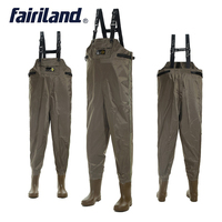Waterproof fishing wader 41 46 size Chest waders with wading boots for hunting bootfoot wader fly fishing cloth Nylon shell