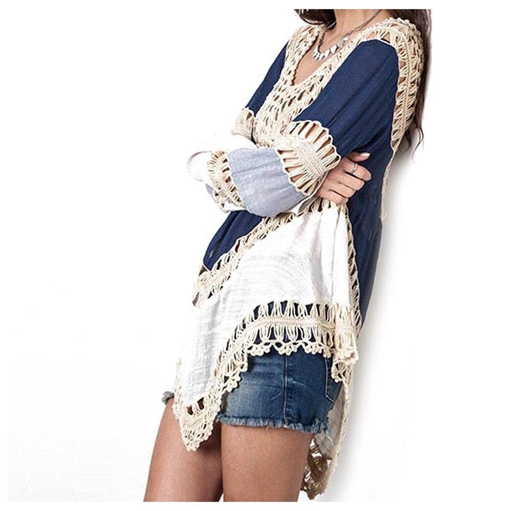 Горячие Для женщин Купальники для малышек крючком Туника прикрыть/пляжное платье Синий Один Размер