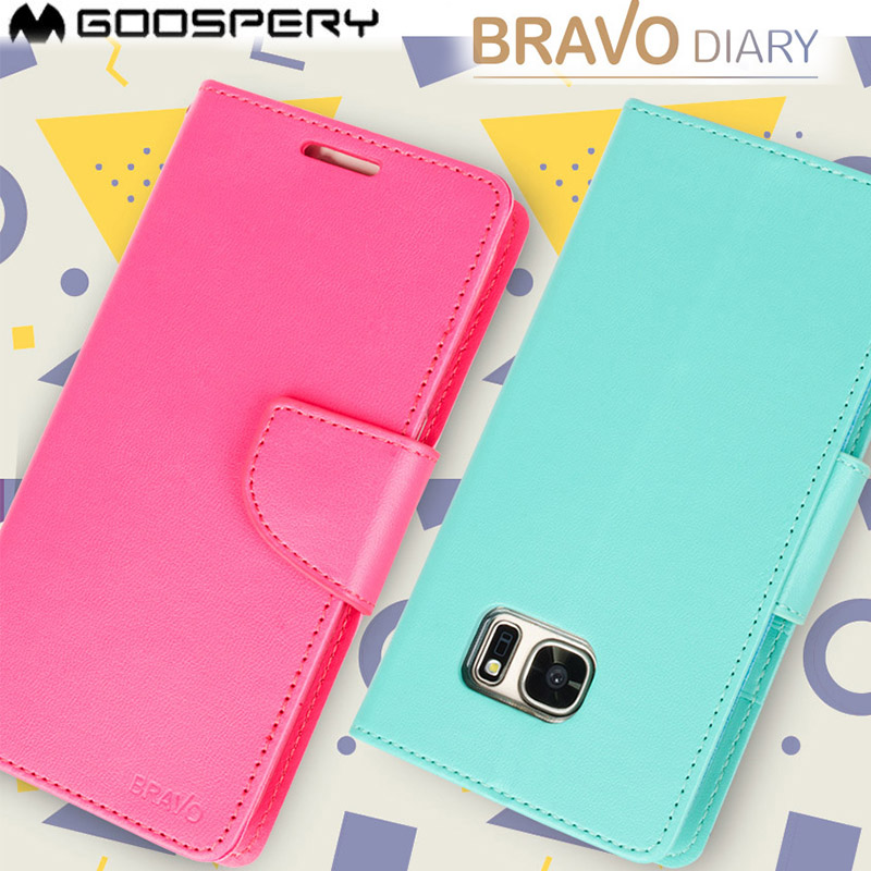 US $6.69 15% OFF|Mercury Goospery Bravo Diary Wallet Leather stand Case For Samsung Galaxy S4 S5 S6 S7 Edge S8 PLUS Note 4 5 8 in Wallet Cases from