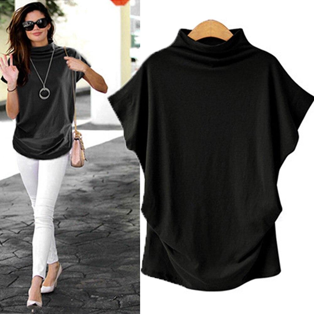 T Shirt Women Turtleneck Short Sleeve Cotton Shirts Solid Casual Top Plus Size Women Summer Female T-shirts Harajuku C0517