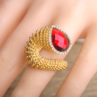 Exaggeration Big Ruby Rhinestone Ring 18K Gold Plated Punk Rock Crystal Rings For Women Charming Stone