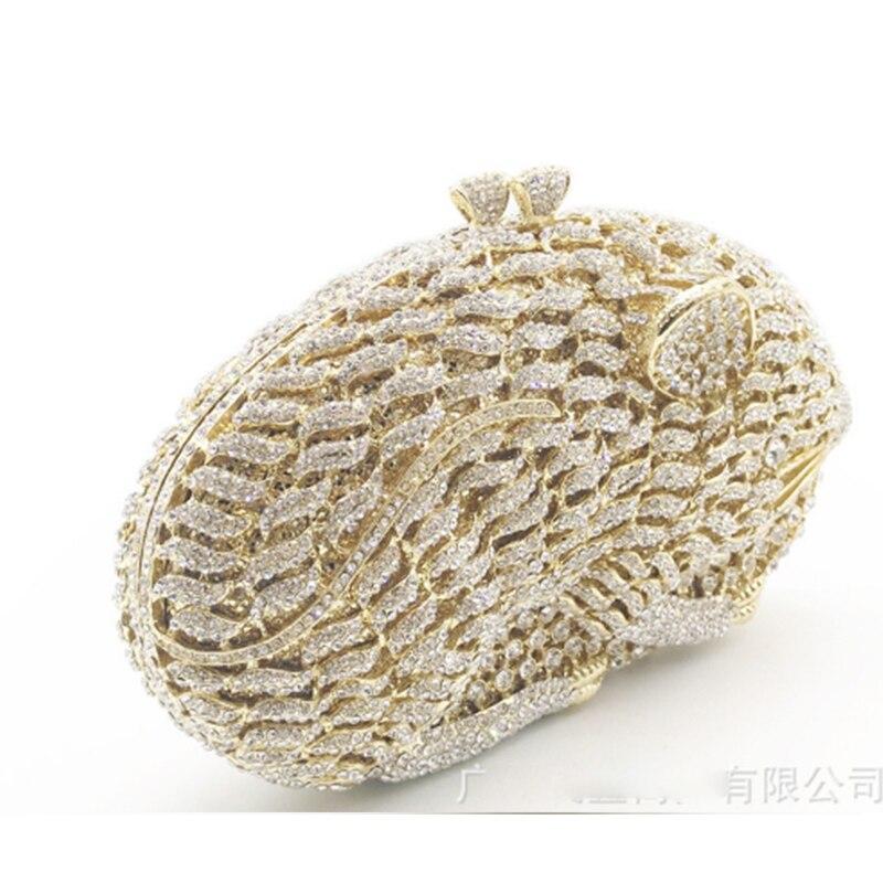 Sacs de soirée de mode pour femmes brillant diamants sac à main dames or Mini sacs à main strass pochette sac à main de fête de mariage portefeuille - 4