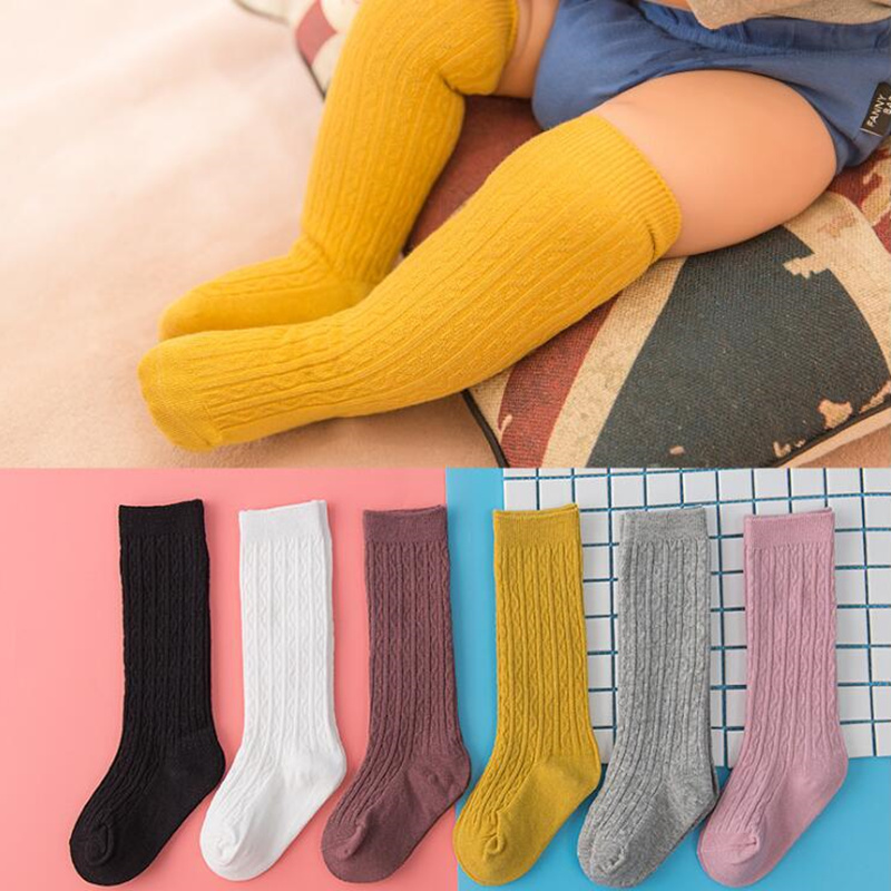 купить Cute Baby Knee Socks Newborn Infant Baby Cotton Knee High Socks Children Baby Girls Boys Socks for Age 0-4 Years Knee Socks Girl по цене 116.96 рублей