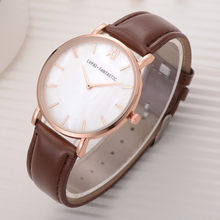 Business Watches Women Rose Gold Border Scale Dial Ladies Solid Color Leather Strap Quartz Wristwatch Simple Clock Kol Saati 50(China)