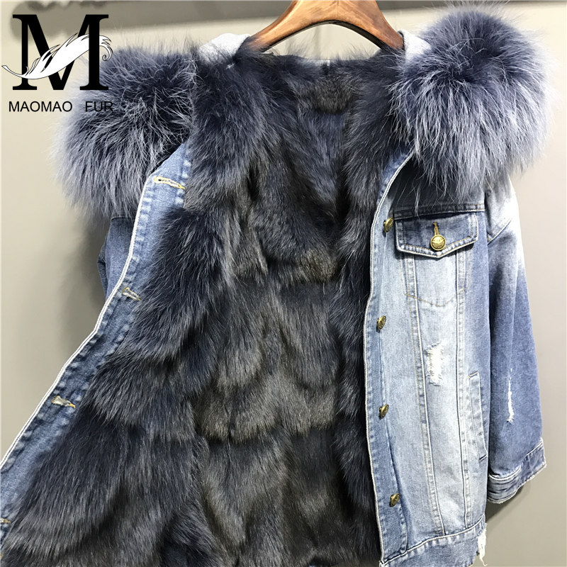 Winter Women Denim Jacket with Real Fox Fur Lining Big Raccoon Fur Hooded Collar Parka Overcoat Real Genuine Fox Fur Coat 2017 winter new clothes to overcome the coat of women in the long reed rabbit hair fur fur coat fox raccoon fur collar