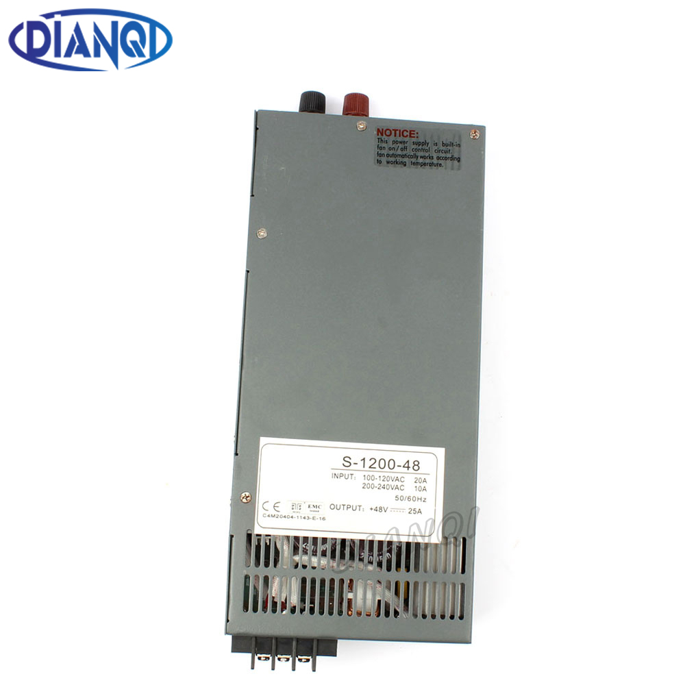 DIANQI 1200W 12V 24V 36V 48V Switching power supply for LED Strip light AC to DC power suply input 110v 220v 1200w power supply 400w led switching power supply 24v 16 7a 85 265ac input ce rosh power suply 24v output