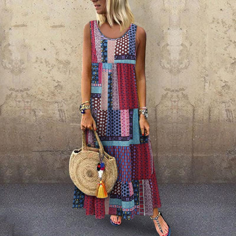 Women Dress 2019 Summer Long Beach Sundress Bohemian Print O Neck Dress Female Casual Loose Sleeveless Sexy Dress Vestido in Dresses from Women 39 s Clothing