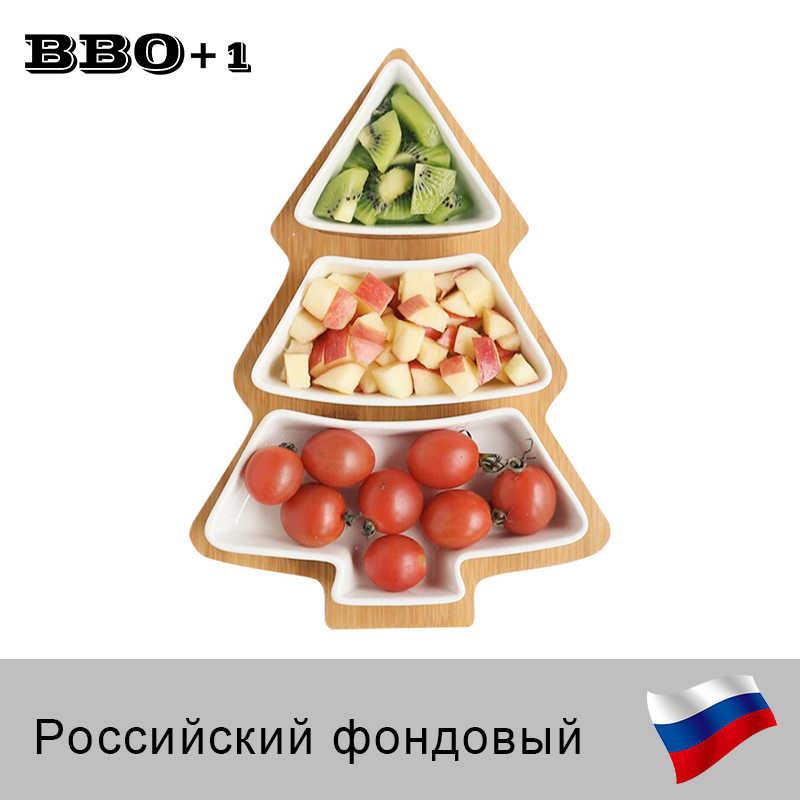 Деревянные блюда закуски Рождественская елка керамические блюда фарфоровые тарелки Посуда столовая посуда салат, торт фруктовый десерт Рождественское украшение