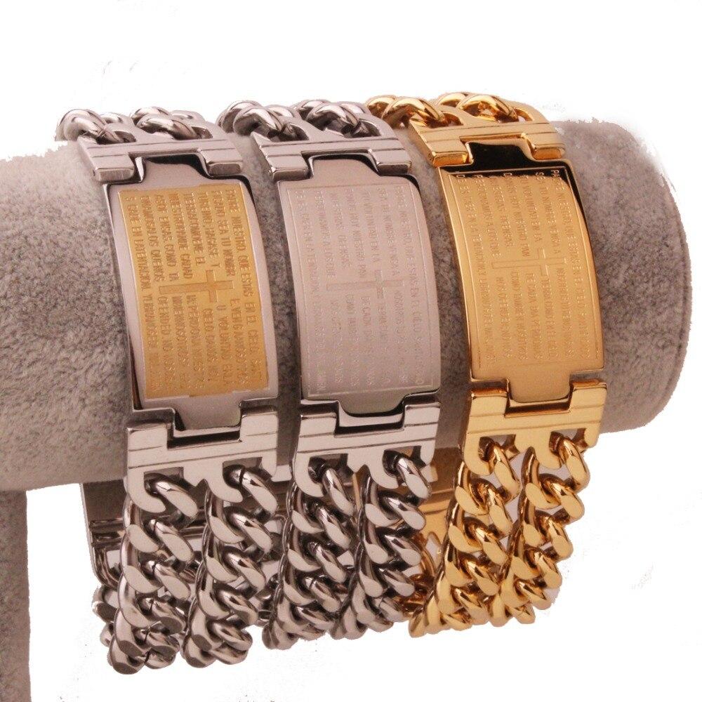 23mm Punk Jesus Cross Bracelets Stainless Steel Bracelets Men Jewelry Male Charm Bangle Double Hand Chain Man Wristband