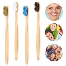 1 шт., зубная щетка из натурального бамбука, плоская, с бамбуковой ручкой, мягкая щетина, зубная щетка для взрослых, товары из бамбука