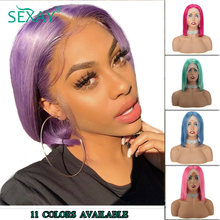 Sexay Blue Bob Lace Front Wigs Color Bob Wigs Pink Blonde Purple Green Burgundy Transparent Lace Front Human Hair Wigs Remy Hair(China)