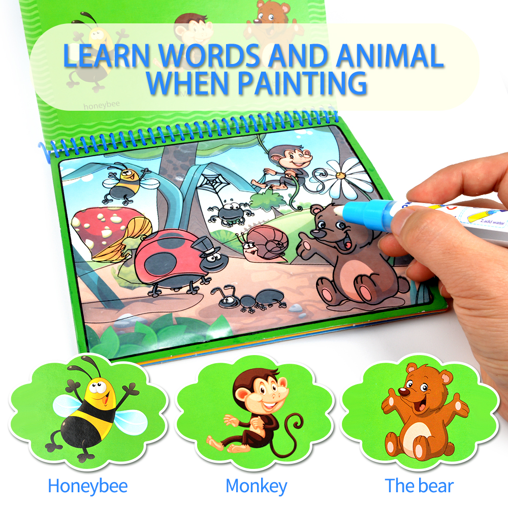 Magic Water Drawing Book Coloring Books Doodle With Magic Pen Painting Drawing Board Coloring Book For Kids Toys free shipping