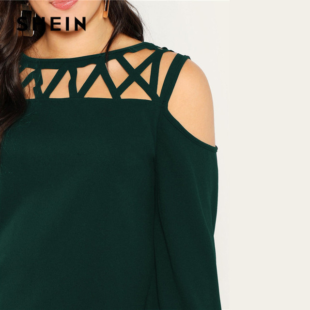 SHEIN Black Sexy Cut Out Cold Shoulder Lantern Sleeve Women Plus Size Blouse 2019 Spring Casual Solid Top Blouses 3 Colors 3