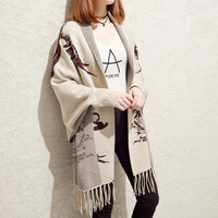 Spring Autumn New Maternity Knitted Cardigan Long Section Fringed Cloak Shawls For Pregnant Women Sweater Female