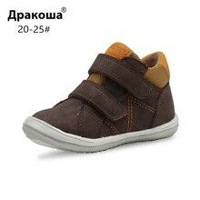 Apakowa/весенне-осенние ботильоны для мальчиков и девочек; Детские кожаные ботинки в байкерском стиле с супинатором; детская обувь; Размеры 20-25