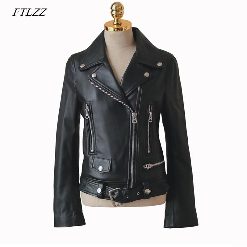 FTLZZ 2019 New Autumn Women Pu   Leather   Jacket Woman Zipper Belt Short Coat Female Faux   Leather   Black Motorcycle Outwear