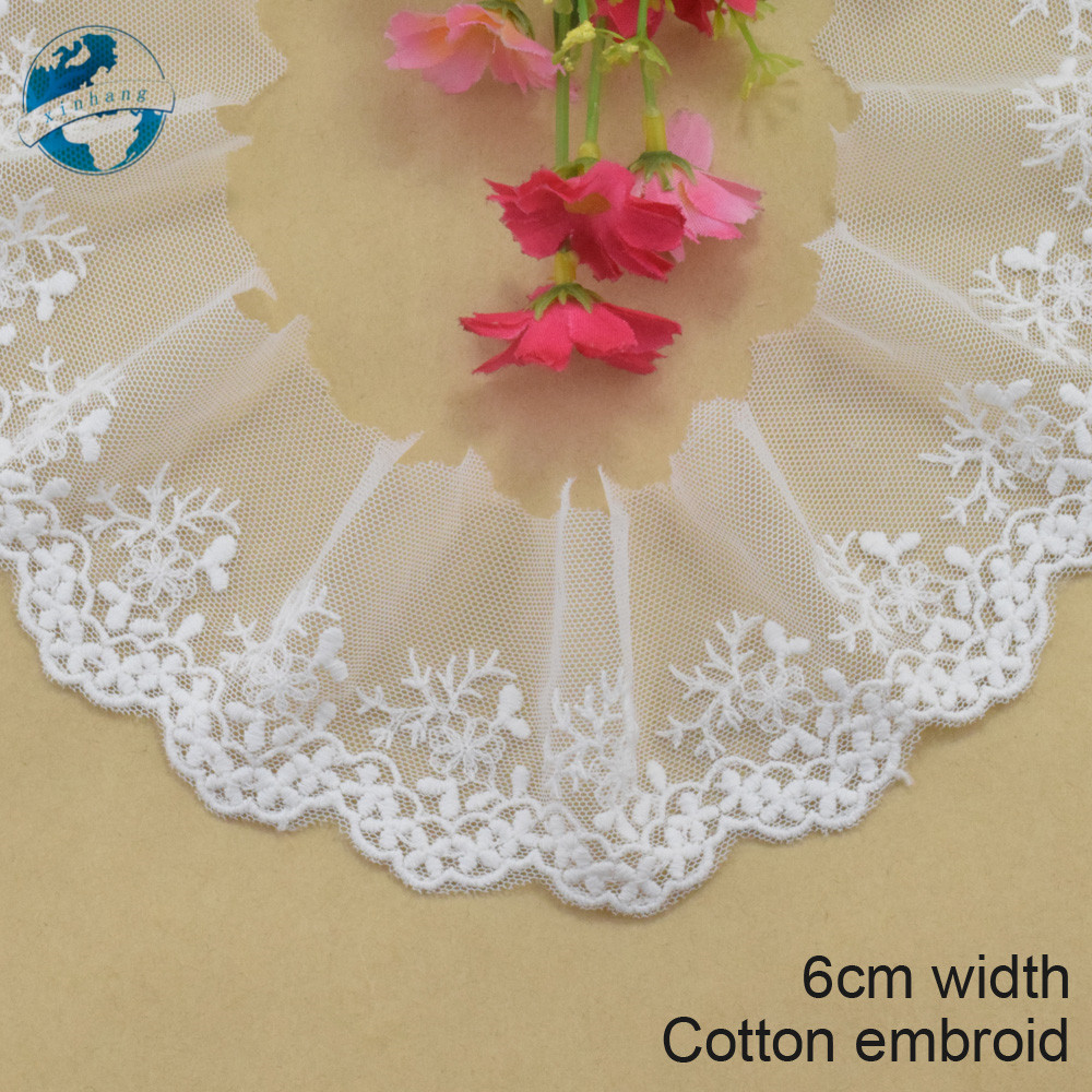 6cm wide white lace cotton embroid lace sewing ribbon fabric guipure diy trims warp knitting DIY Garment Accessories#3762
